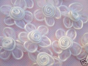 "20 Big 2.5"" Organza Sheer Ribbon Flower Applique/Satin Swirl/hand made F1-White"