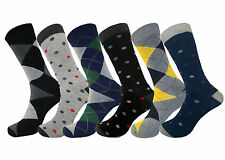 6 PK DRESS SOCKS POLKA DOTS ARGYLE COTTON MULTI COLOR FASHION SOCKS SIZE 10-13