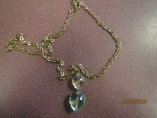 "On Pretty 18"" Goldtone Chain Preowned Plastic Heart Duo Pendant"