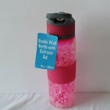 double wall drinking bottle with refreeze gel 18oz. pink new never used with tag
