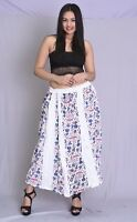 Indian 100% cotton Women Long Skirt Hippie Floral Print White Color Plus Size