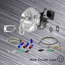 FOR l4 2.0L 2.3L 2.5L TURBO CHARGER T3/T4 .63 A/R +OIL FEED RETURN LINES 350+HP