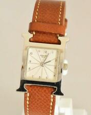 HERMES H Watch Steel Leather Quartz Ladies Watch HH1.210 NEW Batery Working