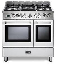 "Verona Vefsge365Ndw 36"" Pro-Style Dual Fuel Gas Double Oven Range True White"