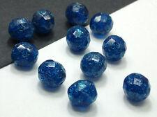 15 Böhmische CRASHPERLEN 10mm Aquamarine Kugel Crackle Glasschliffperlen #3192