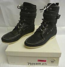 BALENCIAGA Womens Ankle Boots Sz 40.5 10 Black Suede Combat Laces Buckle