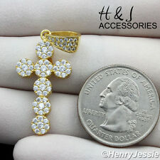 Diamond Bling Gold Cross Pendant*Agp160 Men Women 925 Sterling Silver Lab