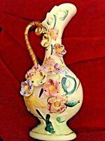 VINTAGE Vivid Hand Painted Porcelain Vase Pitcher Gold Accents Raised Flowers