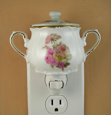 China Made In England Pink Rose Sugar Bowl W/ Lid Custom Made  Night Light