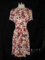 LONDON TIMES Plus Sz 2X Fit & Flare Dress White Pink Orange Floral Short Sleeve