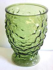 "1960s Anchor Hocking Avocado Green Glass Vase 7.25"" tall Retro FREE SH"