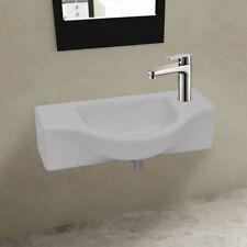 Ceramic Wall Hung Basin Sink Basin Faucet Overflow Hole Modern Bathroom Washroom