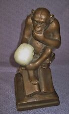 Vintage Darwin Monkey w Skull Sculpture Statue Theory of Evolution – 1962