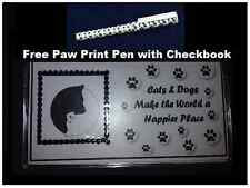 Cats & Dogs Make the World a Happier Place Checkbook Cover with Free Pen