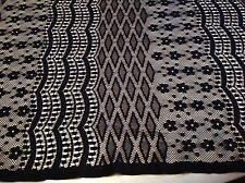 "NEW Designer Black Stretch  Lace Fabric 60"" 151cm High Class Fashion Lace"