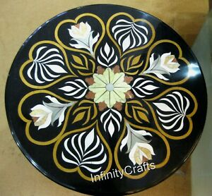 23 x 23 Inches Black Patio Sofa Table Top Round Shape Coffee Table Inlay Work