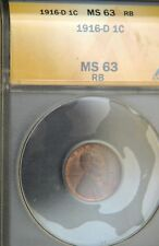 1916-D Lincoln Cent ANACS MS63   (C9146)