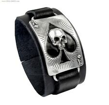 Skull Ace of Spades Black Leather Wriststrap Bracelet-Rock Wear
