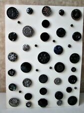 Vintage BUTTON Collection43 BLACK GLASS,Cut STEELS,Celluloids,On Display CARD
