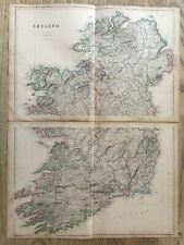1859 IRELAND LARGE HAND COLOURED MAP BY W.G. BLACKIE ORIGINAL ANTIQUE