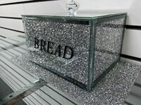 Silver Crushed Diamond Crystal Mirrored Bread Bin Container sparkly glitter NEW