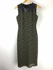 Marc New York Dress Andrew Mark Womens Size 4 Lace Faux Leather Green Black X17