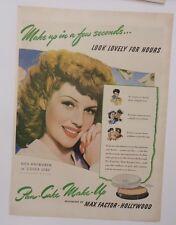 Original Print Ad 1943 COVER GIRL Pan-Cake Make-Up Max Factor Rita Hayworth