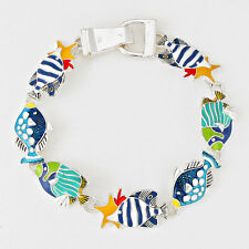 Fish Bracelet Magnetic Clasp Metal Link Beach SeaLife Nautical SILVER MULTI BLUE