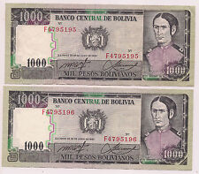 2 Consecutively Numbered Banco Central De Bolivia Mil Pesos Bolivianos Banknotes