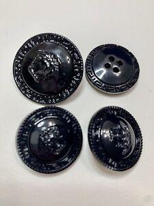 Vintage Versace 3 Medusa Head Black Metal 30mm, Plastic 25mm