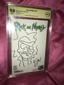 Rick And Morty 30 Blank Variant CBCS 9.8 Signed And Sketched By Kyle Starks