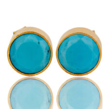 18K Gold Plated Brass Turquoise Stud Earrings Womens Fashion Jewelry