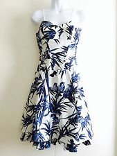 Karen Millen 50's Full Skirt Corset Dress Blue White Birds of Paradise. Cotton.