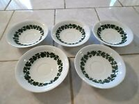 Lot of Five Meissen Full Green Vine SAUCERS Smooth Edge No Trim Germany