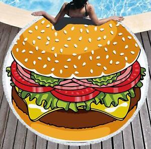 3D Tomato Burger ZHUB1333 Summer Plush Fleece Blanket Picnic Beach Towel Zoe