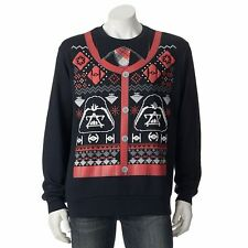 STAR WARS Men's Medium Sweatshirt Black Vader Christmas Ugly Sweater New $38
