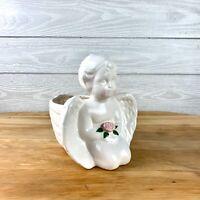 Napco Cherub Praying Angel Flower Planter Child Ivory Ceramic Plant Vase Wings