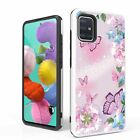 For Galaxy A51 4G(A515) Hybrid Tough Phone  Cover Case Pink Butterflies