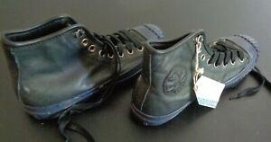 CONVERSE Hi Top HOLLIS Leather Shoes Men's Size 7 Sneakers Black Blue FREE SHIP