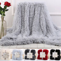 Flannel Blanket Reversible Faux Fur Soft Warm Plush Bed Sofa Fluffy Shaggy Throw