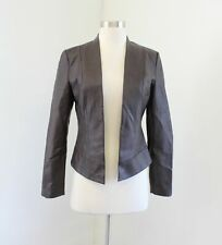 Boston Proper Chocolate Brown Faux Leather Open Front Cropped Moto Jacket Sz 2