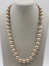 Stunning Delicate 12mm Champagne southsea Shells Pearl Necklace 20""