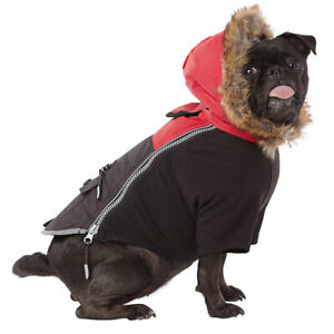 TOP PAW Reflective Dog Vest Coat Black Red w/ Hood Size Extra Small & Large