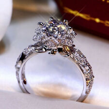 Gorgeous Women Wedding Rings 925 Silver Round Cut White Sapphire Size 6-10