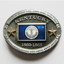 PATRIOTIC BLUEGRASS STATE OF KENTUCKY FLAG BELT BUCKLE