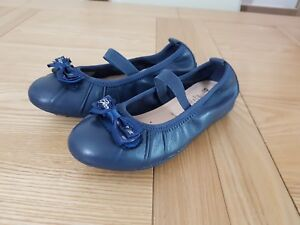 Geox Respira Girls Piuma Navy Blue Breathable Slip On Ballet Pumps with Bow