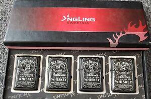NGLING 1998 Pocket Lighter X 4 Black Jack Daniels Tobacco Accessory 4 In Total