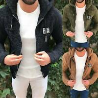 Men Winter Thick Hoodies Tops Fluffy Fleece Fur Jacket Hooded Coat Zip Outerwear
