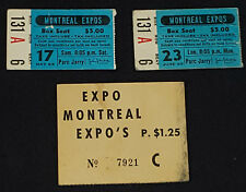 1969 MONTREAL EXPOS JARRY PARK FIRST YEAR IN MLB GAME + PARKING TICKET STUBS (3)