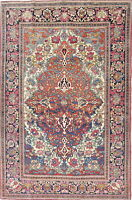 Pre-1900 Vegetable Dye Sarouk Farahan Antique Persian Hand-Knotted 4x7 Area Rug